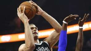 Brooklyn Nets center Brook Lopez (11) shoots against