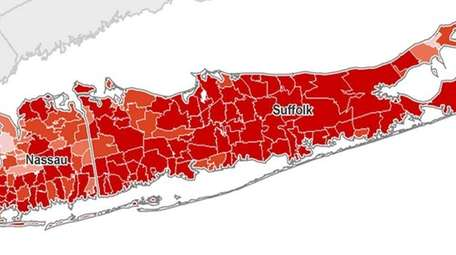 A map shows the foreclosure rate throughout Long