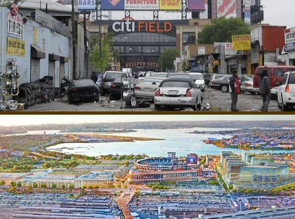 Willets Point now and a rendering of plans