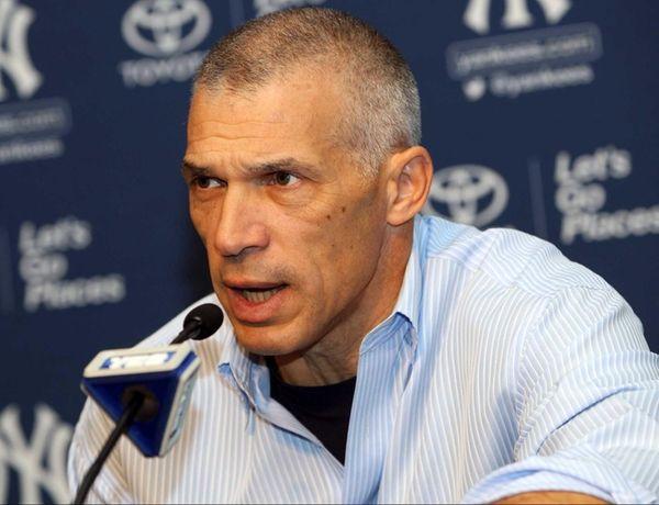 Yankees manager Joe Girardi talks at his year-end
