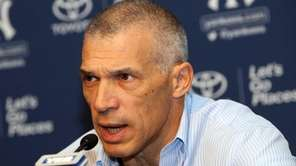 Yankees manager Joe Girardi talks at his year-end