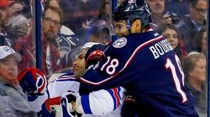 Rene Bourque #18 of the Columbus Blue Jackets