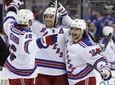 New York Rangers' Mats Zuccarello, right, celebrates his