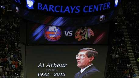 A tribute to Al Arbour is seen on