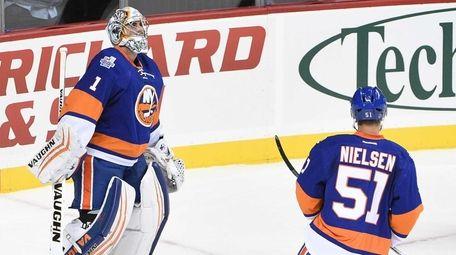 New York Islanders goalie Thomas Greiss reacts after
