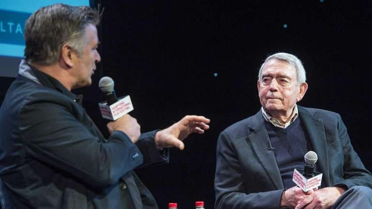 Former CBS News anchorman Dan Rather speaks with