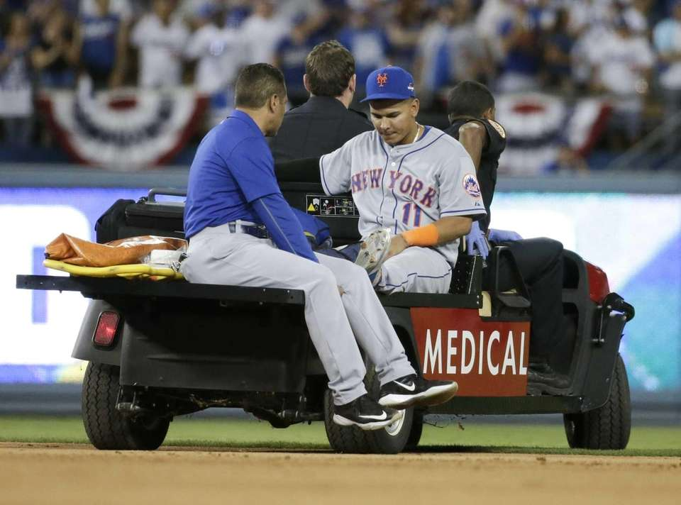 New York Mets shortstop Ruben Tejada is taken