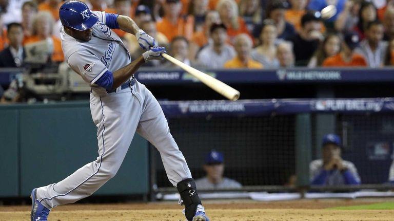 Kansas City Royals' Lorenzo Cain hits a home