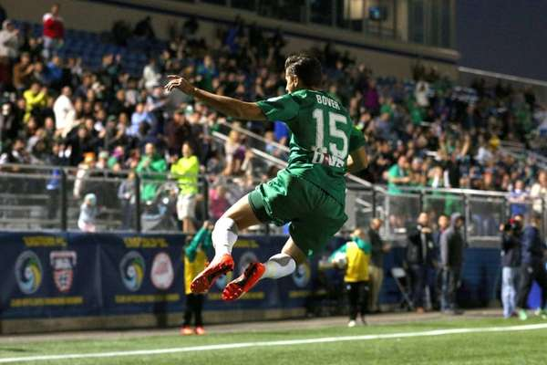 New York Cosmos midfielder Ruben Bover #15 celebrates