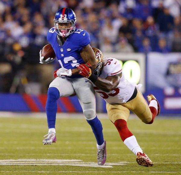 Odell Beckham of the New York Giants runs