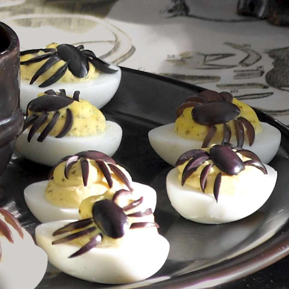 These creepy-crawly eggs are from Williams-Sonoma (williams-sonoma.com). Ingredients: