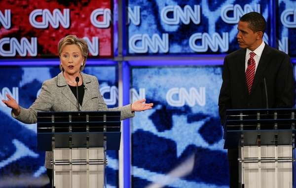 Then-Senator Hillary Clinton and Then-Senator Barack Obama speak