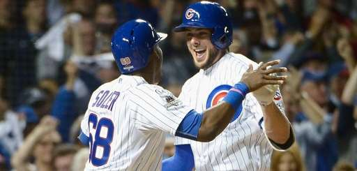 Kris Bryant #17 of the Chicago Cubs celebrates