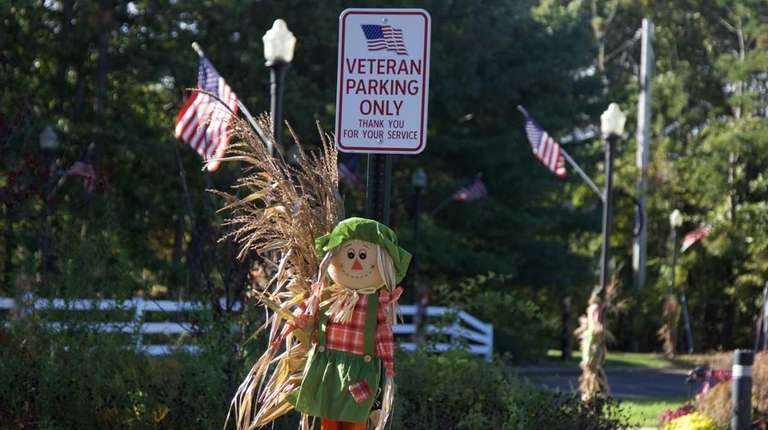A veterans only parking spot at Village Hall