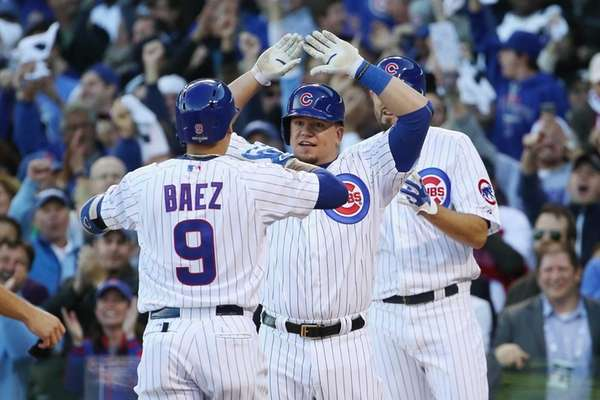 Javier Baez #9 of the Chicago Cubs is