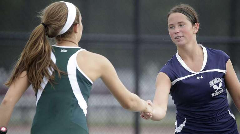 Eastport-South Manor's Jackie Bukzin, right, greets Floyd's Emily