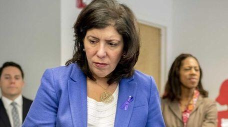 Nassau County Acting District Attorney Madeline Singas speaks
