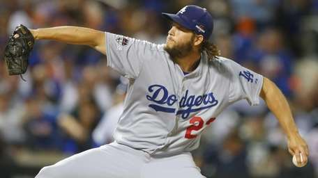 Los Angeles Dodgers starting pitcher Clayton Kershaw pitches