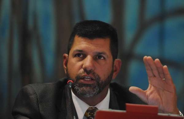 School board trustee member Ted Imbasciani attends a