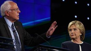 Vermont Senator Bernie Sanders speaks as former U.S