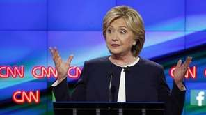 Hillary Clinton speaks during the CNN Democratic presidential