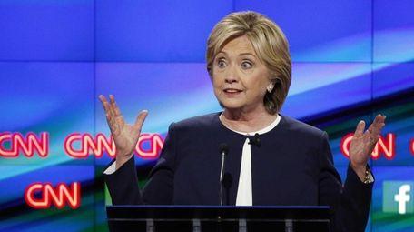 Hillary Clinton speaks during the CNN Democratic presidential