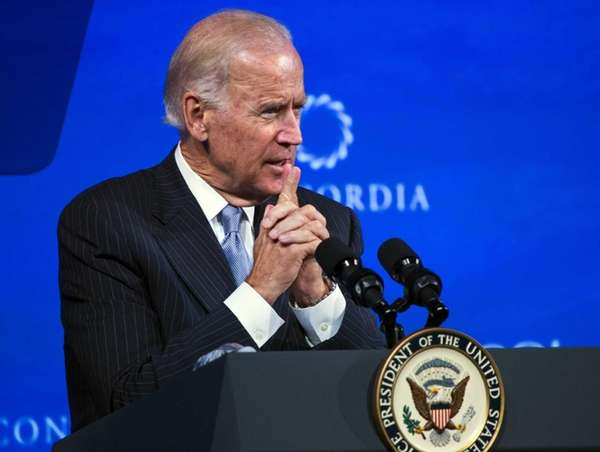 Vice President Joe Biden briefly comments on a
