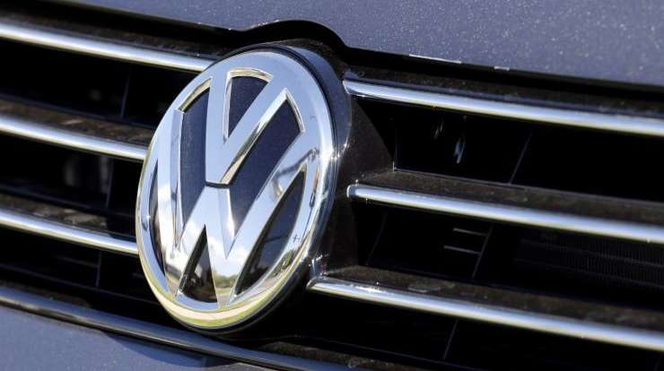 A Volkswagen car for sale is decorated with