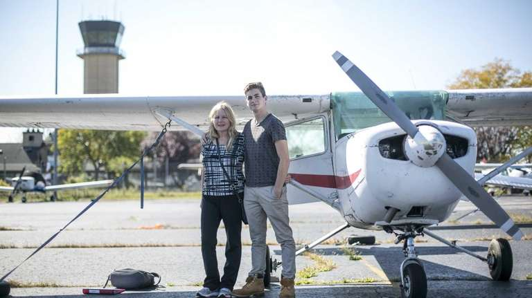 17-year-old pilot Connor Golden, and his mother, Patty