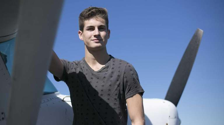 17-year-old pilot Connor Golden poses for a photo