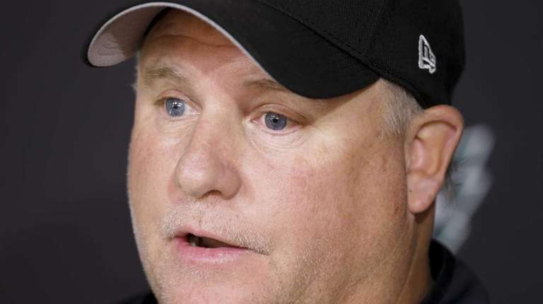 Philadelphia Eagles head coach Chip Kelly speaks with