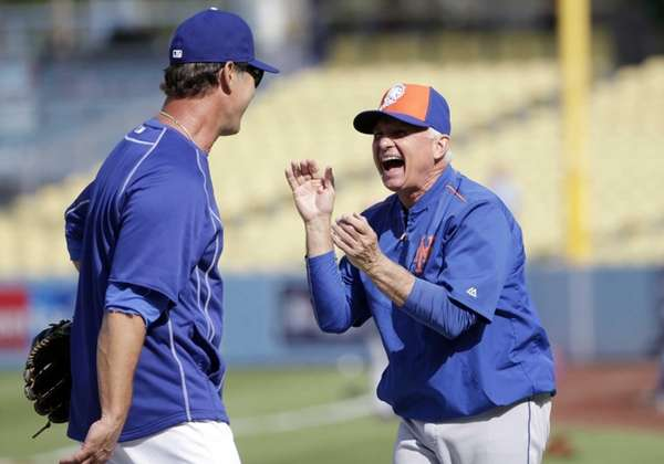 Los Angeles Dodgers manager Don Mattingly, left, and