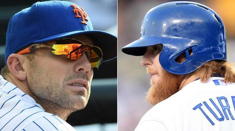 Mets' third baseman David Wright (left) and Dodgers'