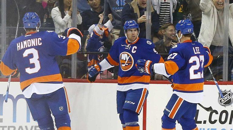 John Tavares of the New York Islanders celebrates