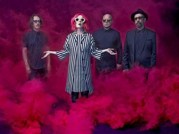 From left, drummer Butch Vig, singer Shirley Manson,