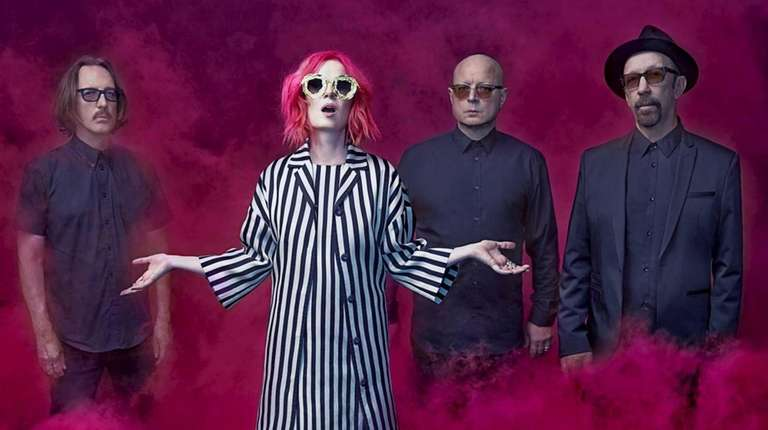 From left, drummer Butch Vig, singer Shirley Manson,