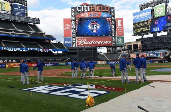 The Chicago Cubs work out at Citi Field