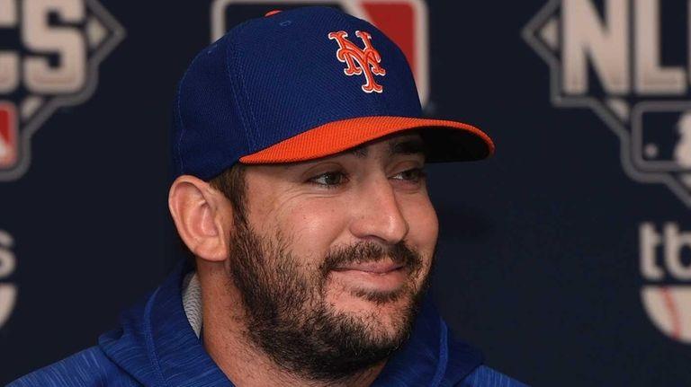 New York Mets starting pitcher Matt Harvey answers