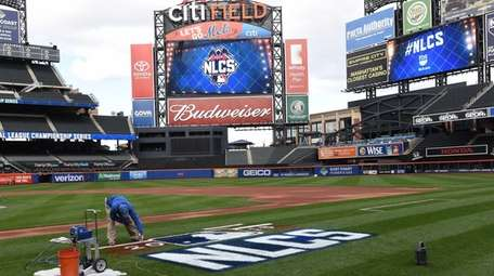 The NLCS logo is painted at Citi Field