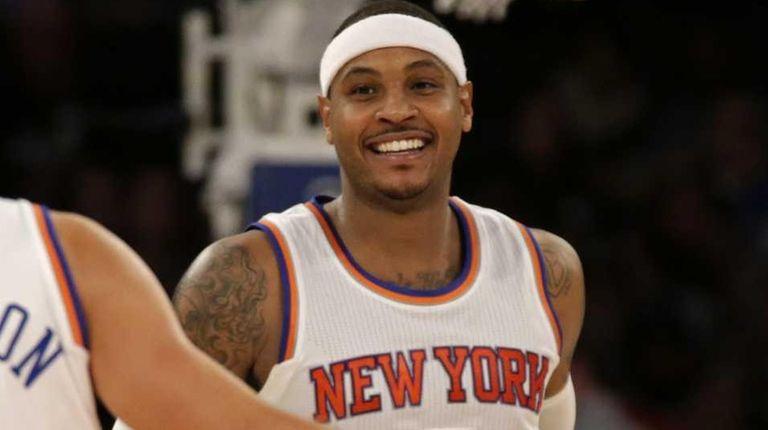 New York Knicks forward Carmelo Anthony celebrates with