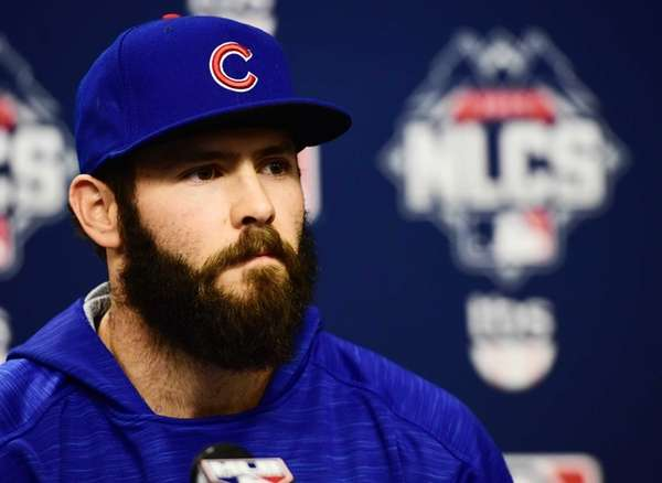 Chicago Cubs starting pitcher Jake Arrieta speaks to