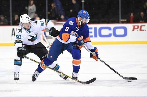 New York Islanders defenseman Nick Leddy skates against