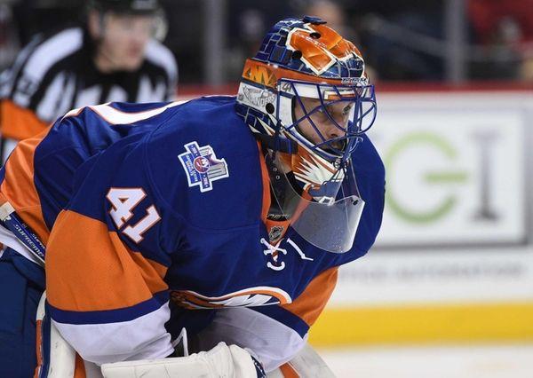 New York Islanders goalie Jaroslav Halak looks on