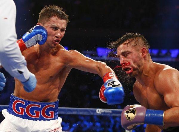 Gennady Golovkin, left, hits David Lemieux in the