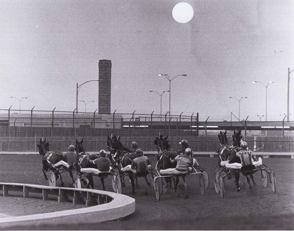 Horses head into the sunset at Roosevelt Raceway