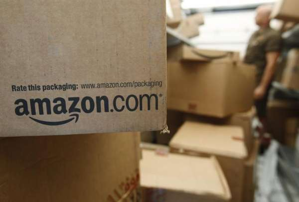 An Amazon.com package awaits delivery from UPS in