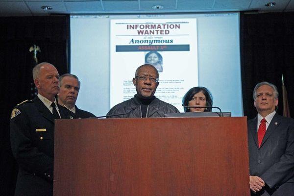Hempstead Village Mayor Wayne Hall speaks at a