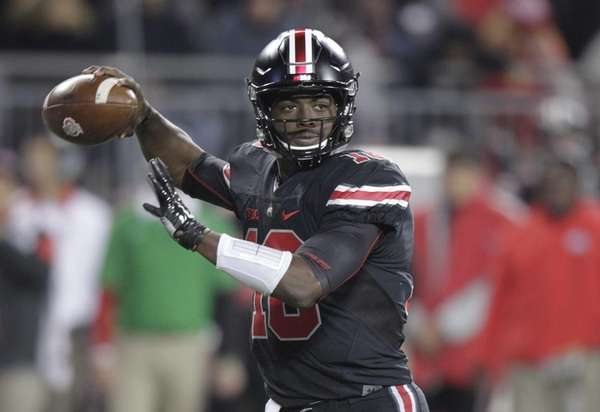 Ohio State quarterback J.T. Barrett drops back to