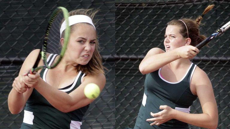 Floyd's Emily Fernandez, left, and Brooke Fernandez compete