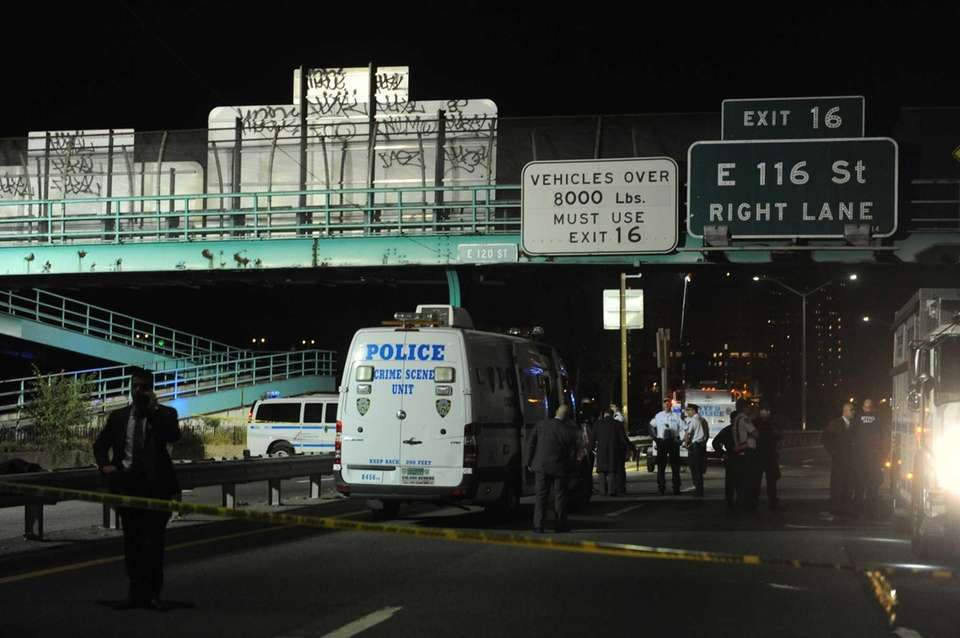 Members of the NYPD gather Tuesday, Oct. 20,
